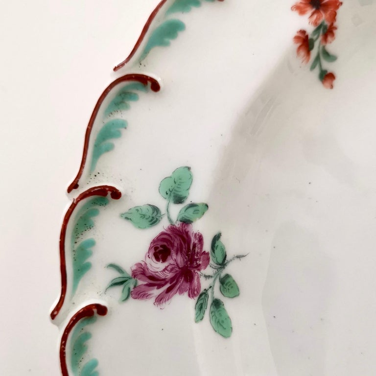 Molded Chelsea Porcelain Plate, Hand Painted Flowers, Red Anchor, 18th Century For Sale