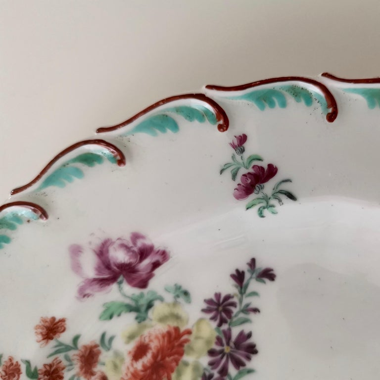 Mid-18th Century Chelsea Porcelain Plate, Hand Painted Flowers, Red Anchor, 18th Century For Sale