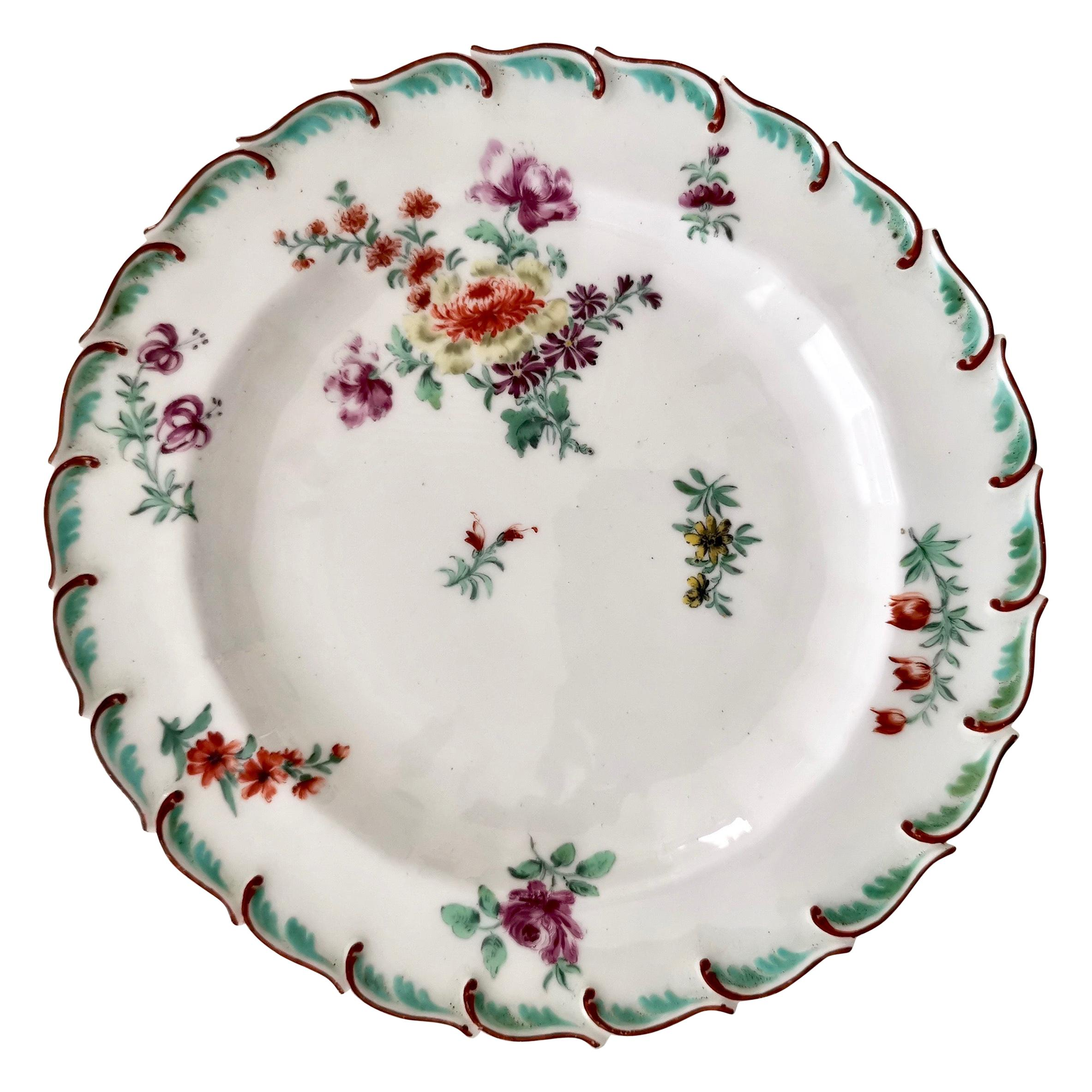 Chelsea Porcelain Plate, Hand Painted Flowers, Red Anchor, 18th Century