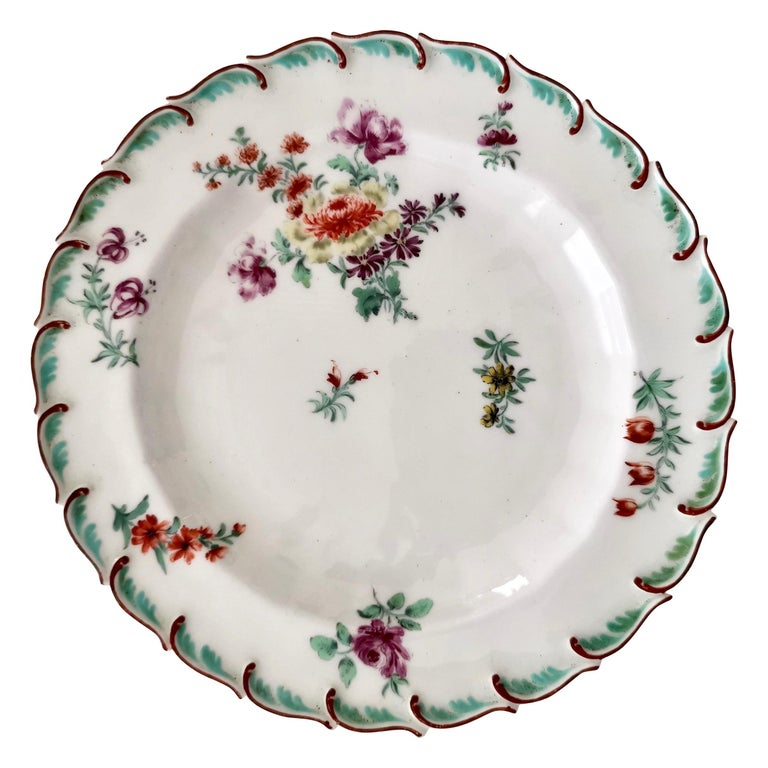 Chelsea Porcelain Plate, Hand Painted Flowers, Red Anchor, 18th Century For Sale