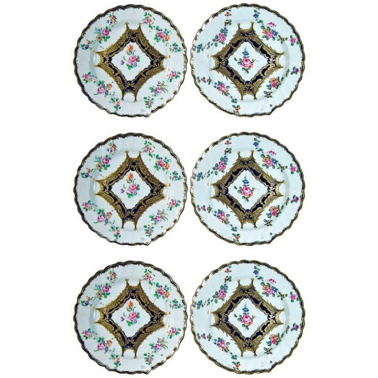 English Chelsea Porcelain Set of Six Botanical Dessert Plates, 18th Century For Sale