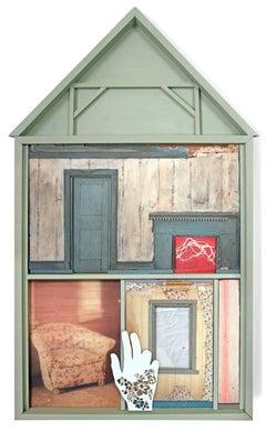 """""""Mrs. Franklin"""", Chelsea Revelle, mixed media, assemblage, house"""