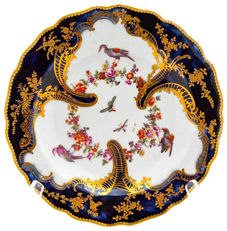 English Chelsea Rococo Porcelain Mazarine Blue Plate with Birds and Flowers, 1759-1768 For Sale