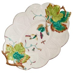 Chelsea Serving Dish, Embossed Vines and Moths, circa 1754