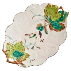 Chelsea Porcelain Serving Dish, Embossed Vines and Moths, Georgian circa 1754