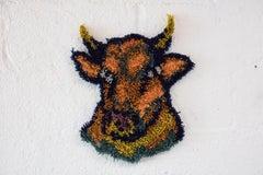 Gold Ring, Gold Chain - Cross Stitch Embroidered Bull - Orange, Blue Yarn