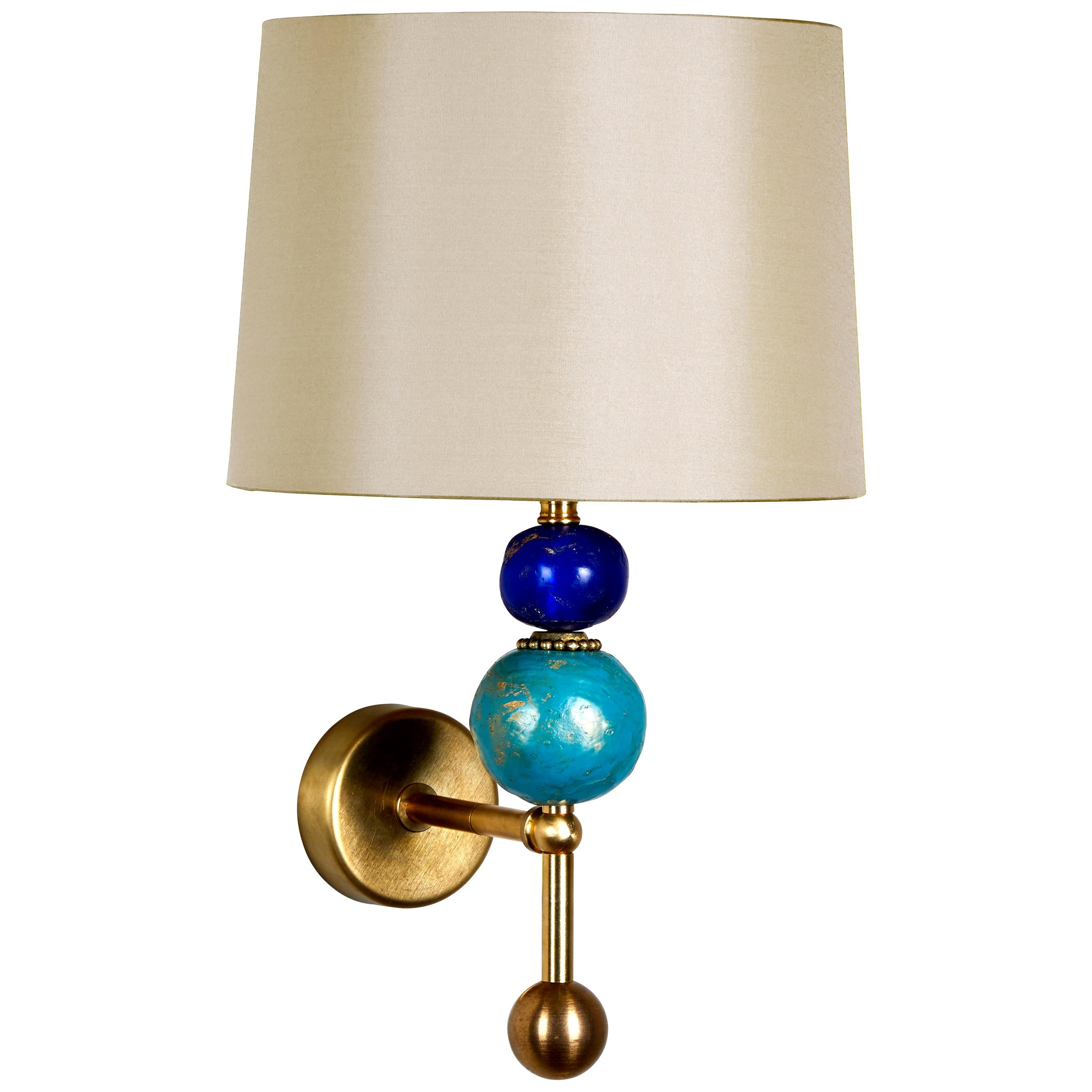 Chelsea Wall Light in Brass and Blue by Margit Wittig