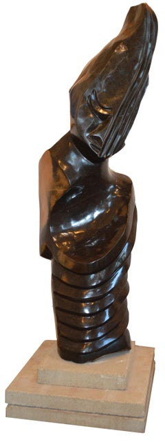 'Listening Friend' springstone Shona sculpture signed by Chemedu Jemali