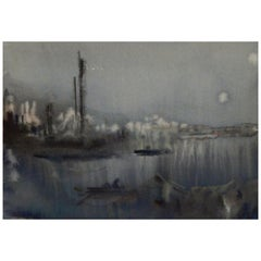 Chen Chi Important Chinese/American Artist Watercolor, Nocturne on the Whangpoo
