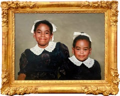 The happy sisters - African American Photorealist Portrait - Hyperrealism Family