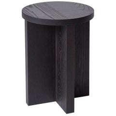 Chene Wood Stool in Ebonized Finish