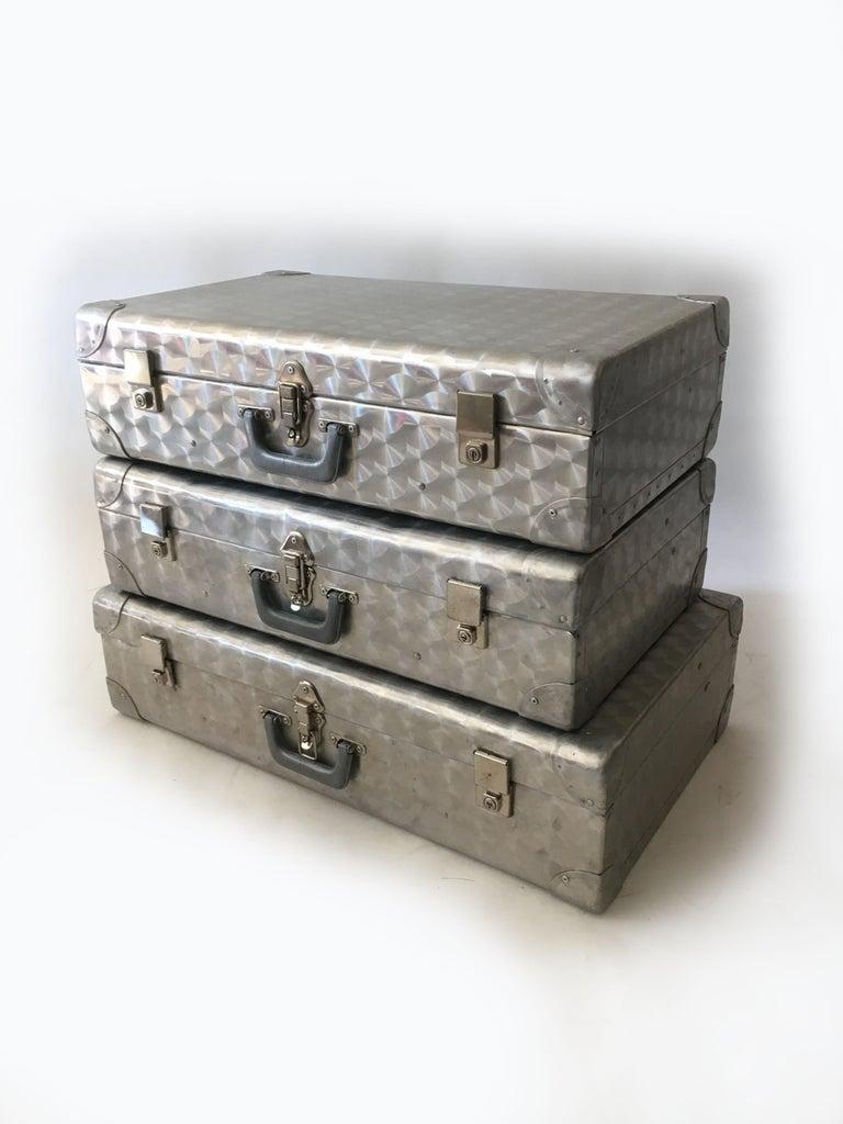 Cheney London aluminum suitcase luggage, set of three, England, 1960s. A beautiful and seemingly rare set of three iconic Cheney's.