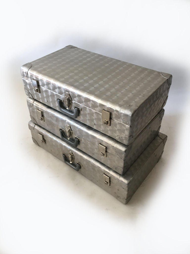 Metal Cheney London Aluminum Suitcase Luggage, Set of Three, England, 1960s For Sale