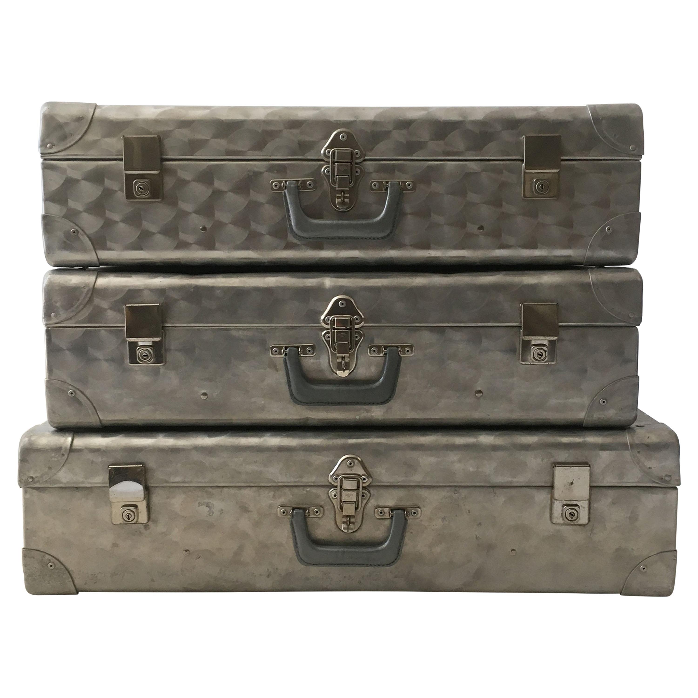 Cheney London Aluminum Suitcase Luggage, Set of Three, England, 1960s