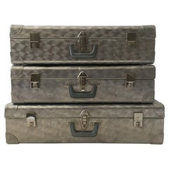 Cheney London Aluminum Suitcase Luggage, Set of Three, England, 1960s