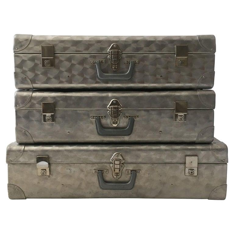 Cheney London Aluminum Suitcase Luggage, Set of Three, England, 1960s For Sale