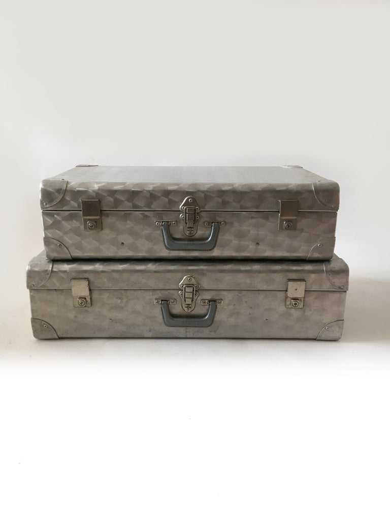 Cheney, London aluminum suitcase luggage, set of two, England, 1960s. A beautiful and seemingly rare set of two Cheney.