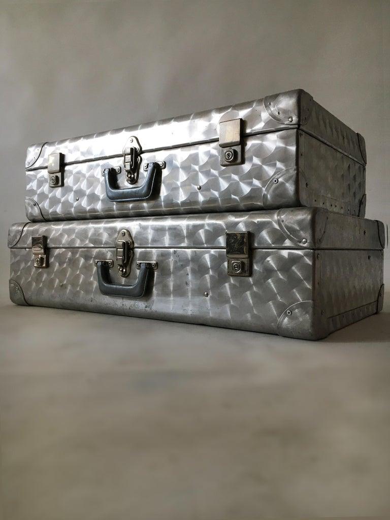 English Cheney, London Aluminum Suitcase Luggage, Set of Two, England, 1960s For Sale