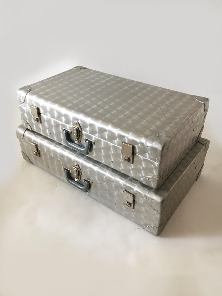 Fabric Cheney, London Aluminum Suitcase Luggage, Set of Two, England, 1960s For Sale