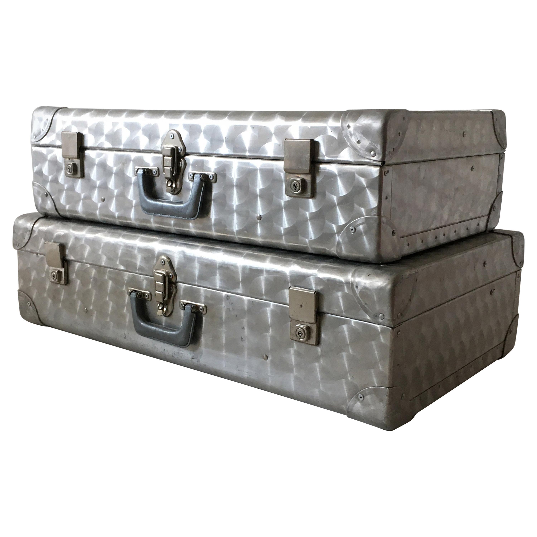 Cheney, London Aluminum Suitcase Luggage, Set of Two, England, 1960s