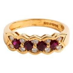 Chequerboard Diamond 'Est. .50 Carat' & Ruby Dress Ring, Hallmarked London 1995