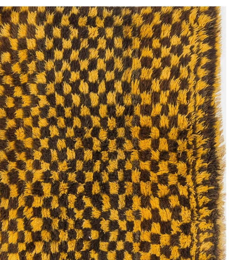 Hand-Knotted Chequered Mid-Century Tulu Rug For Sale