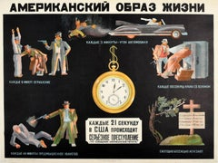 Original Vintage USSR Poster American Lifestyle Crime Anti-USA Soviet Propaganda