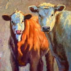 """""""Around Here"""" impressionist style oil painting of a brown and white cow"""