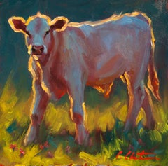 """Calf in the Grass"" Oil painting of a calf standing in grass with back lighting"