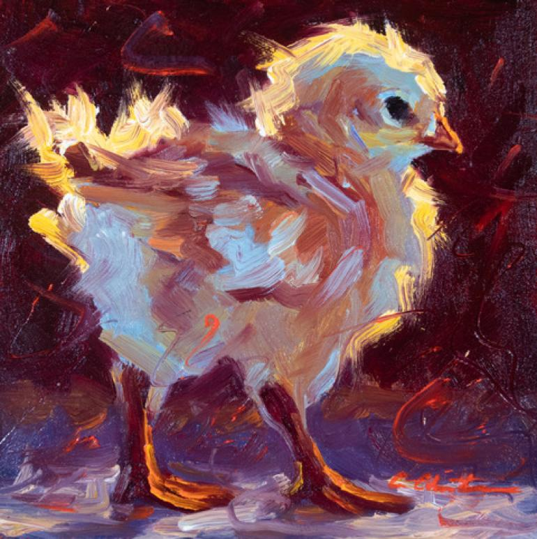 """""""Chick in the Wind"""" oil painting of a yellow chick with dark red background"""