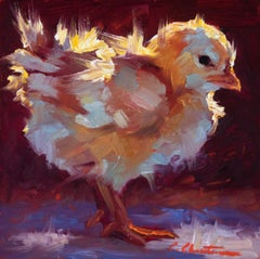 """""""Chick Lit"""" oil painting of a yellow chick with dark red background"""