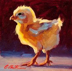 """""""Confident Chick"""" Oil painting of a yellow chick in profile"""