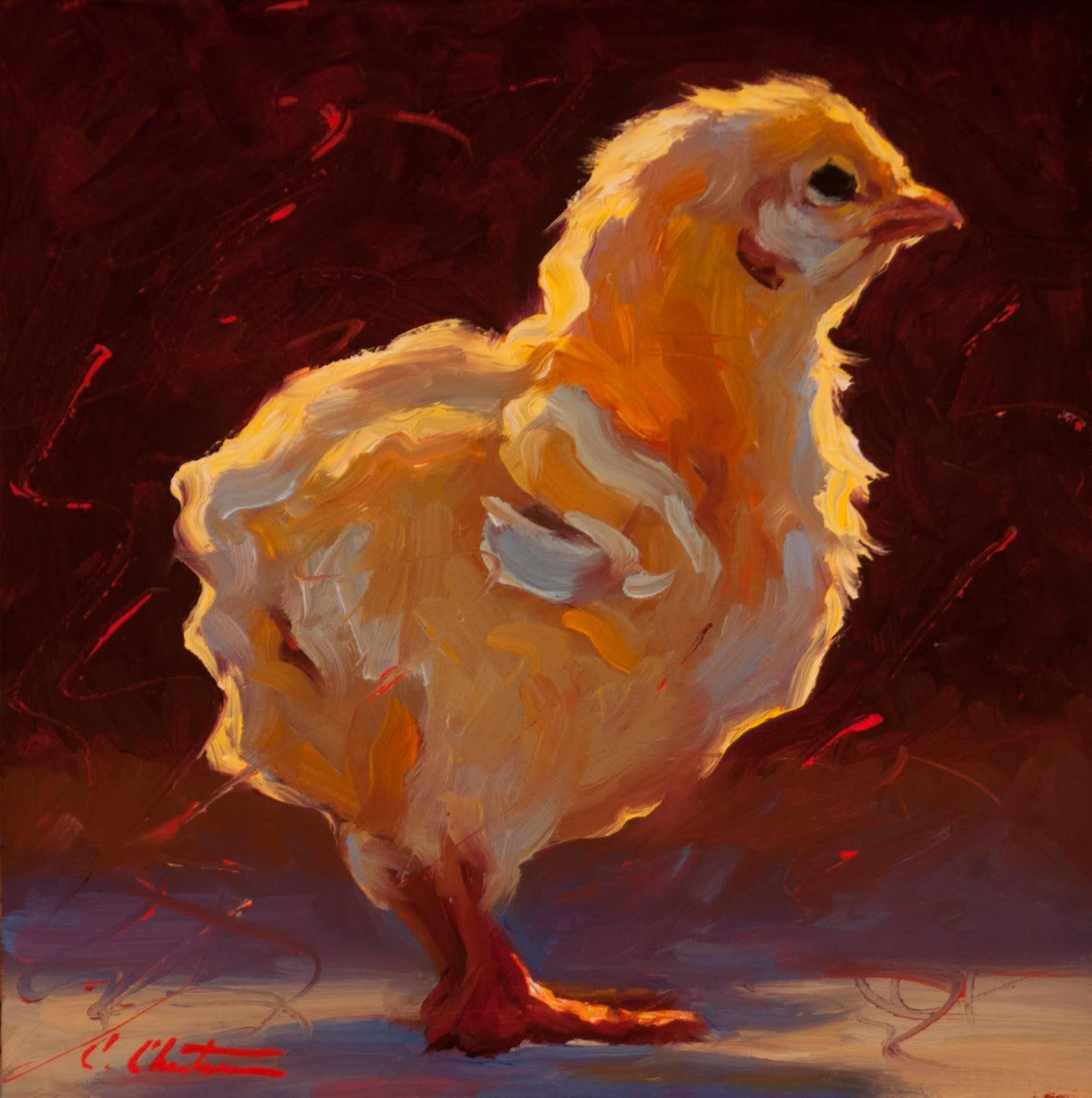 """Contemplative Chick"" Painterly Chick in Bright Yellows, Dark Purple Background"