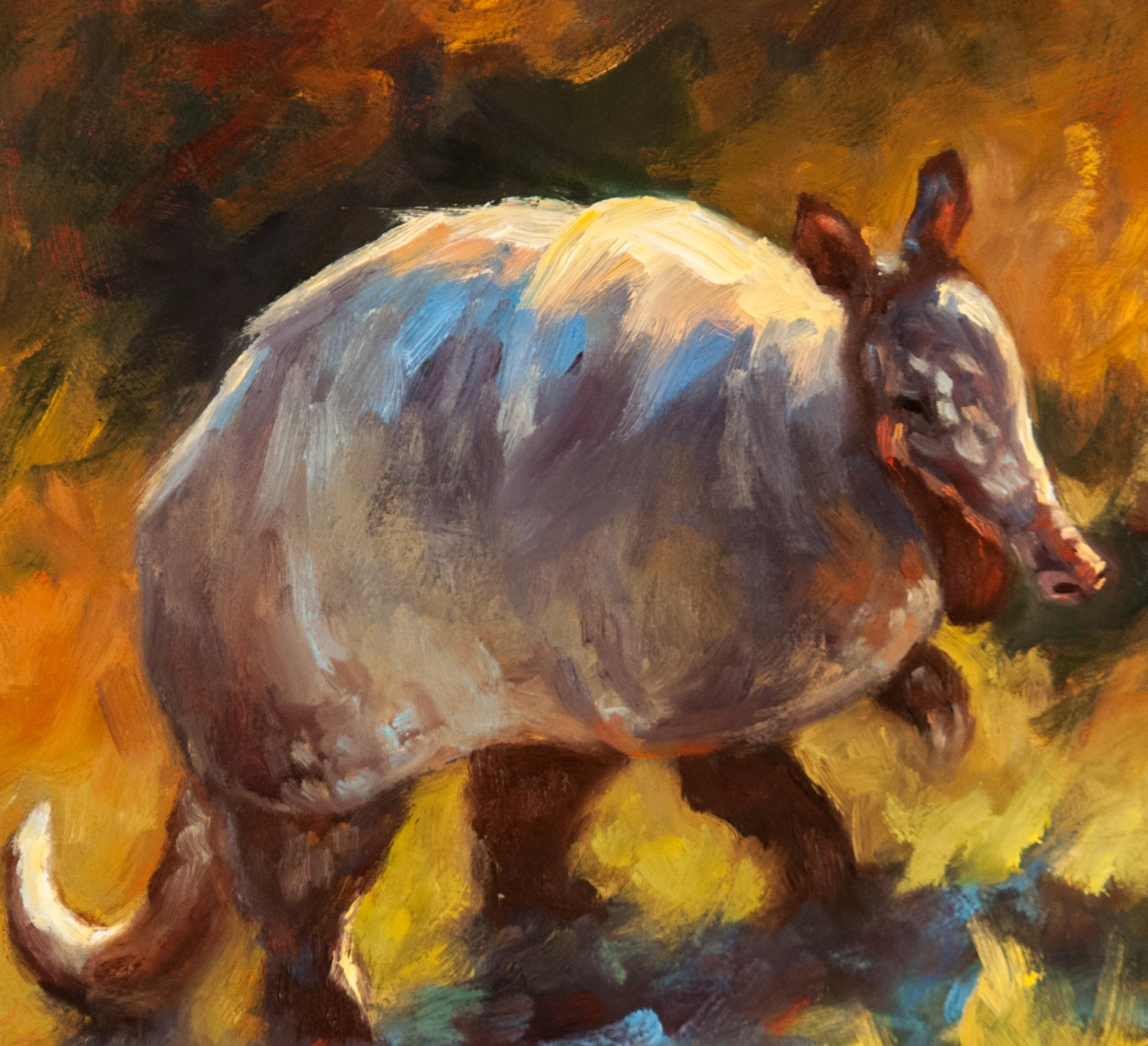 Digger, oil painting, Texas Animals, Armadillo. 12 x 12 Women in the Arts