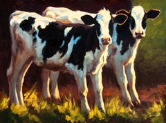 Double Trouble , oil painting, Texas Livestock, Cattle & Landscape, Hill Country