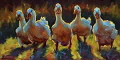 """Duck Gangs"" impressionist style oil painting of 5 white ducks in a line"