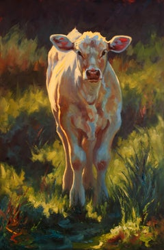 """""""Fredrickburg Calf"""" Impressionist style painting of white calf in green grass"""