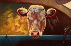 """Going My Way III"" Oil painting of a brown cow peaking through a car window"