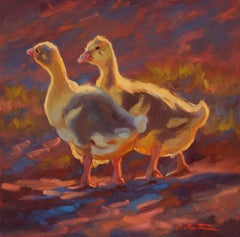 Goslings in the Evening