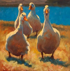 """Gossiping"" oil painting of four white ducks waddling in grass by a blue lake"