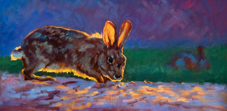 "Cheri Christensen Figurative Painting - ""Hazel's Adventure"" oil painting of a brown rabbit with golden light & dark back"