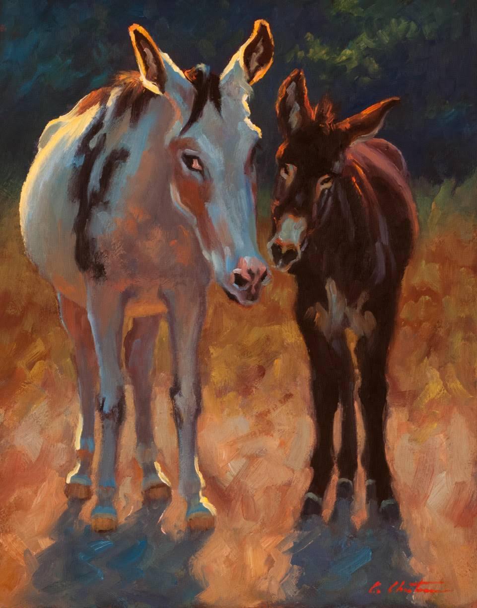 """June & Cash Enjoying the Afternoon"" Two Donkeys in Yellow Field, Dark Blue Sky"