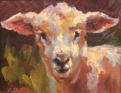 """""""Lamb Chop"""" Painterly Depiction of a Lamb's Face in Bright Neutrals and Green"""