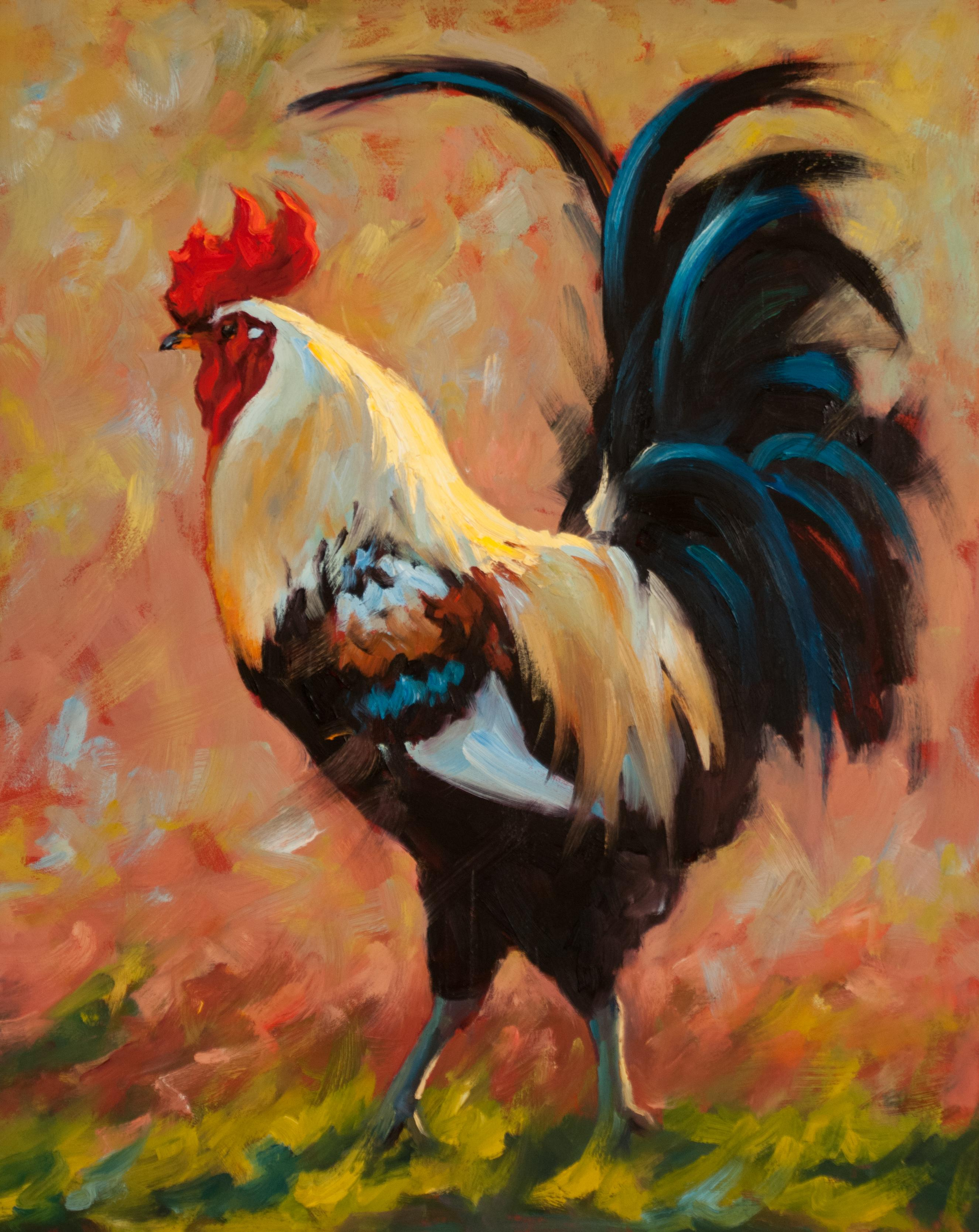 Lord of Luckenback, oil painting, Texas Animals, Rooster Painting, Texas Artist