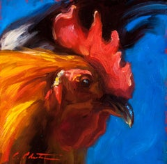 """Profiler II"" Oil painting of a red rooster in profile with Blue background"