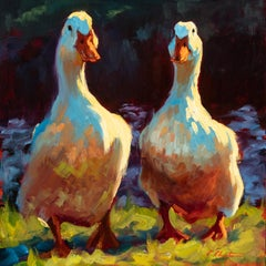"""Quackers"" impressionist style oil painting of two ducks in a field"