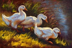 Sacred Pond, oil painting, Three Ducks waddling near a Pond, Texas Artist