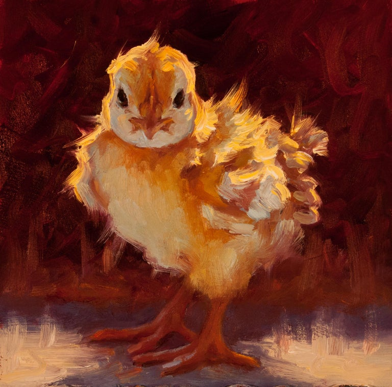 """Cheri Christensen Animal Painting - """"Sassy Chick II"""" impressionist style oil painting of a yellow chick"""