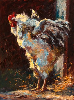 Something to Crow About, oil painting, Texas Rooster Painting, Texas Artist
