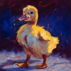 """Spring"" Oil painting of a yellow chick with grass in its beak and dark back"